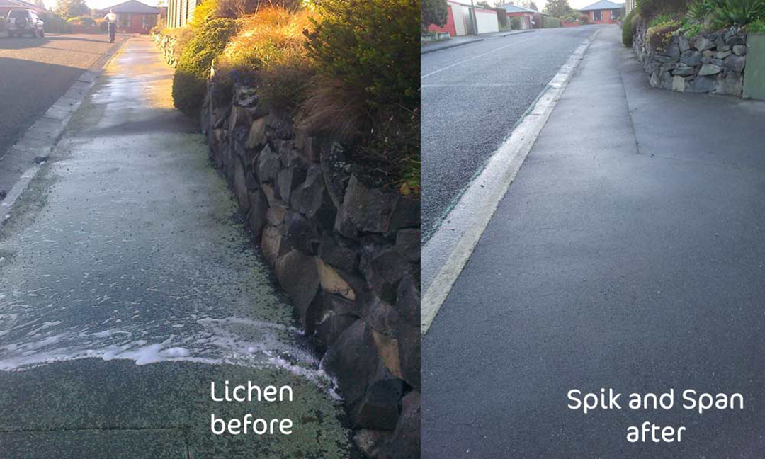 Lichen Removal Example – Before and after on footpaths and driveways